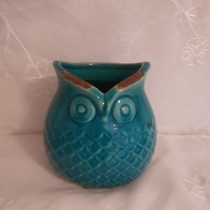 Teal Ceramic Owl Vase